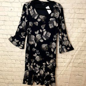 connected apparel floral dress with bell sleeves